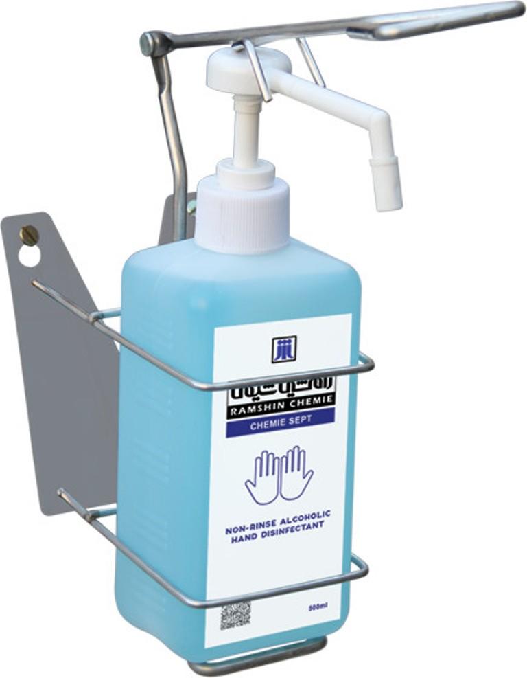 دیسپنسر فلزی محلول ضد عفونی کننده دیواری دست مایع بیمارستانی آرنجی